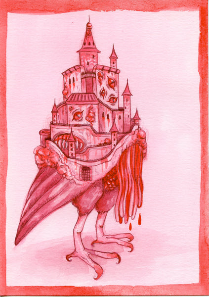 CREEPY CASTLE ~ Pinktober ORIGINAL PAINTING 5x7