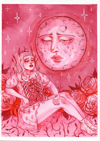 FACE IN THE MOON ~ Pinktober ORIGINAL PAINTING 5x7