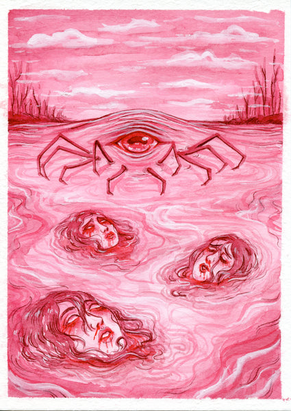 LURKING LAKE CREATURE ~ Pinktober ORIGINAL PAINTING 5x7