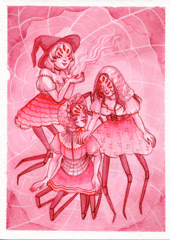 COVEN ~ Pinktober ORIGINAL PAINTING 5x7