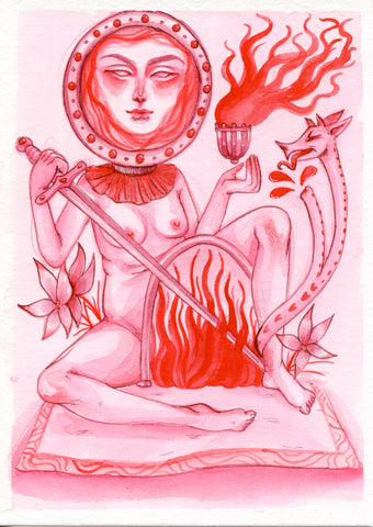 GATES OF HELL ~ Pinktober ORIGINAL PAINTING 5x7