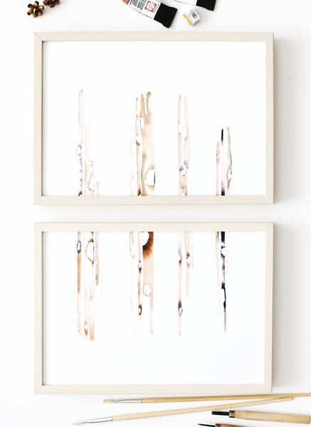 Minimalist set of art prints for contemporary home decor and wall art decoration. Abstract diptych of bamboo handmade in Melbourne.  Multiple orientation original wall art 2019.