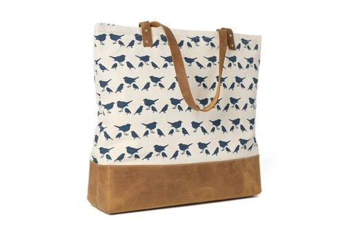 5cd5037b40b Buy Handmade Canvas Tote Bags with Leather Trimming, Shopper – The ...