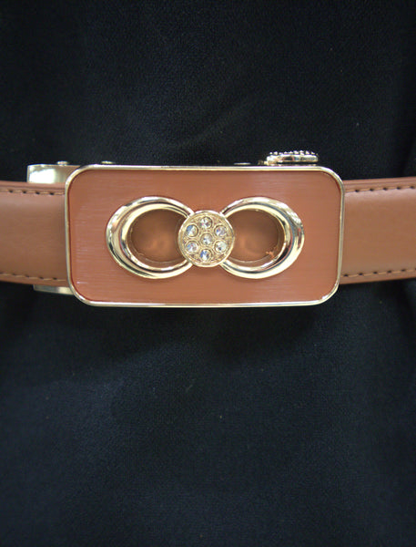 Skinny belt with buckle Detail -Brown