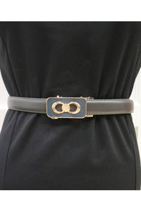Skinny belt with buckle Detail -Grey