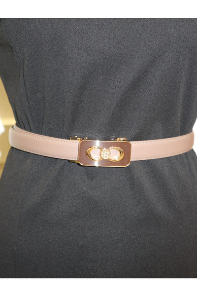 Skinny belt with buckle Detail -Nude