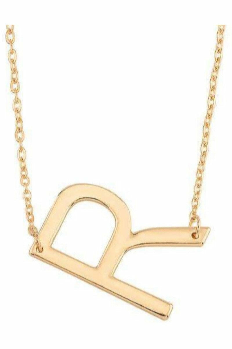 "Gold Initial Necklace ""R"""