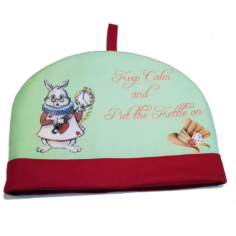 Fabric Tea Cozy - Keep Calm and Put The Kettle On - Alice in Wonderland Tea Cozy,Tea Cozy,cotswolddownscrafts.com,CotswoldDownsCrafts