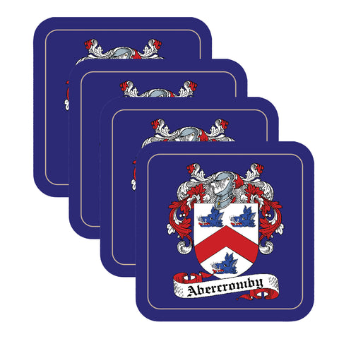 Abercromby Scottish Clan Shield Square Drinks Coaster on elegant blue background – SET OF FOUR,Clan coaster,CotswoldDownsCrafts,CotswoldDownsCrafts