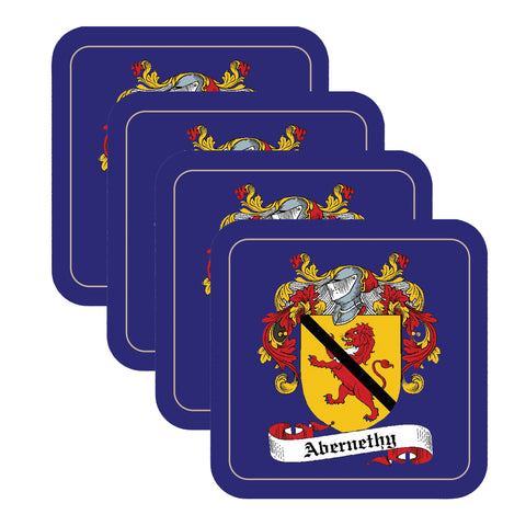 Abernethy Scottish Clan Shield Square Drinks Coaster on elegant blue background – SET OF FOUR,Clan coaster,CotswoldDownsCrafts,CotswoldDownsCrafts