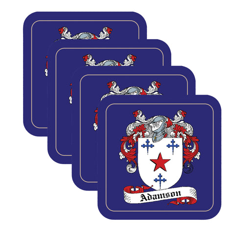 Adamson Scottish Clan Shield Square Drinks Coaster on elegant blue background – SET OF FOUR,Clan coaster,CotswoldDownsCrafts,CotswoldDownsCrafts