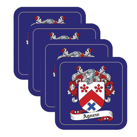 Agnew Scottish Clan Shield Square Drinks Coaster on elegant blue background – SET OF FOUR,Clan coaster,CotswoldDownsCrafts,CotswoldDownsCrafts