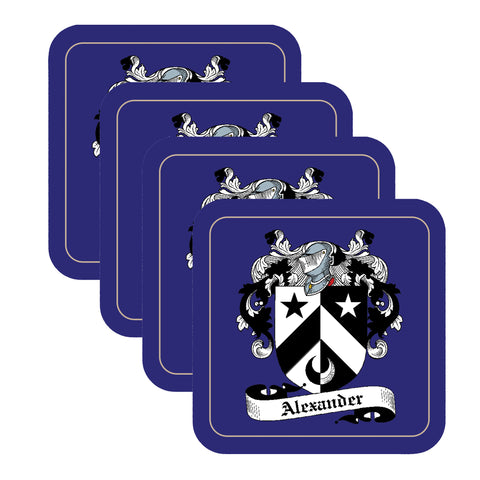 Alexander Scottish Clan Shield Square Drinks Coaster on elegant blue background – SET OF FOUR,Clan coaster,CotswoldDownsCrafts,CotswoldDownsCrafts