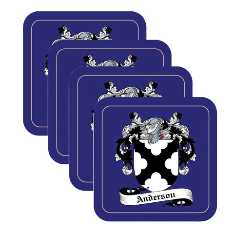 Anderson Scottish Clan Shield Square Drinks Coaster on elegant blue background – SET OF FOUR,Clan coaster,CotswoldDownsCrafts,CotswoldDownsCrafts