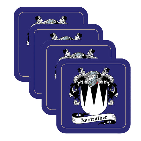 Anstruther Scottish Clan Shield Square Drinks Coaster on elegant blue background – SET OF FOUR,Clan coaster,CotswoldDownsCrafts,CotswoldDownsCrafts