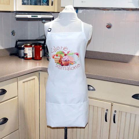 Kitchen Apron In White - Calories-Schmalories from Whimsly,Apron,CotswoldDownsCrafts,CotswoldDownsCrafts