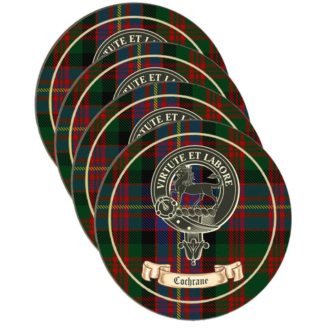 Cochrane Scottish Clan Crest Drinks Coaster on Tartan- Set of Four,Clan coaster,CotswoldDownsCrafts,CotswoldDownsCrafts