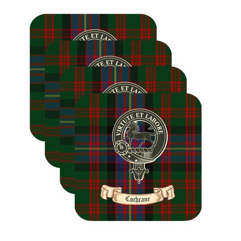 Cochrane Scottish Clan Crest Square Drinks Coaster  – SET OF FOUR,Clan coaster,CotswoldDownsCrafts,CotswoldDownsCrafts