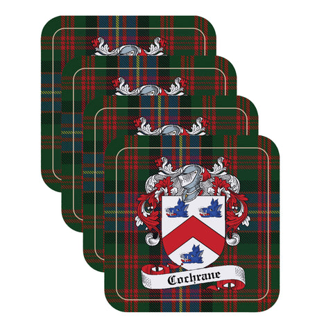 Cochrane Scottish Clan Coat of Arms - 4 Coaster Set,Clan coaster,CotswoldDownsCrafts,CotswoldDownsCrafts