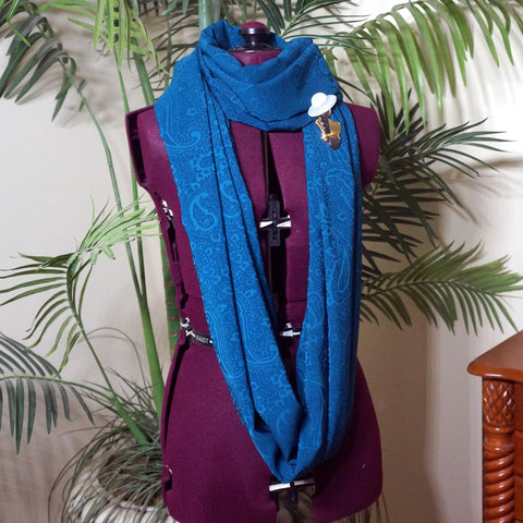 Infinity Scarf in Teal with a paisley pattern,Scarf,CotswoldDownsCrafts,CotswoldDownsCrafts