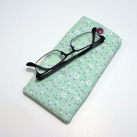 Fabric Eyeglasses Case - Fabric Sunglasses Case - Padded Case - Light green case,Eyeglass case,CotswoldDownsCrafts,CotswoldDownsCrafts