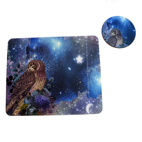 Moonlight Owl Mousepad and Coaster Set,Mousepad,CotswoldDownsCrafts,CotswoldDownsCrafts