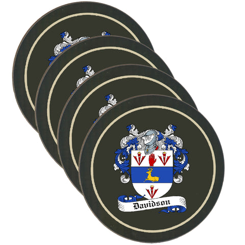 Davidson Clan Coat of Arms Drinks Coaster - Set of Four,Clan coaster,CotswoldDownsCrafts,CotswoldDownsCrafts