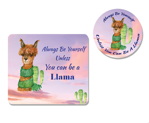 Llama Mousepad and Coaster Set,Mousepad,CotswoldDownsCrafts,CotswoldDownsCrafts