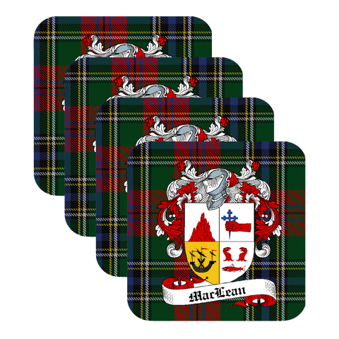 Maclean Scottish Clan Coat of Arms - 4 Coaster Set,Clan coaster,CotswoldDownsCrafts,CotswoldDownsCrafts