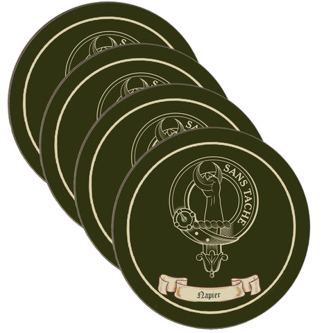 Napier Scottish Clan Crest Drinks Coaster - Set of Four,Clan coaster,CotswoldDownsCrafts,CotswoldDownsCrafts