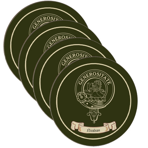 Nicolson Scottish Clan Crest Drinks Coaster - Set of Four,Clan coaster,CotswoldDownsCrafts,CotswoldDownsCrafts