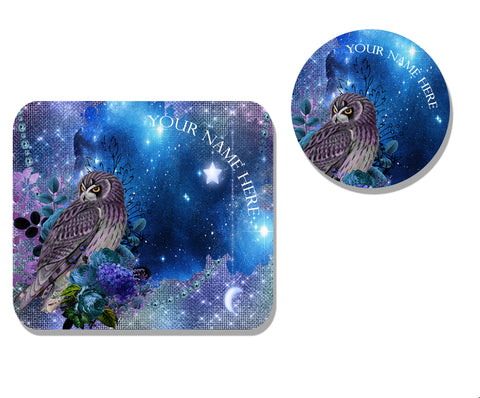Moonlight Owl Mousepad and Coaster Set - Personalized,Mousepad,CotswoldDownsCrafts,CotswoldDownsCrafts
