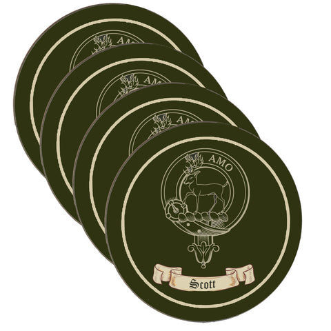 Scott Scottish Clan Crest Drinks Coaster - Set of Four,Clan coaster,CotswoldDownsCrafts,CotswoldDownsCrafts