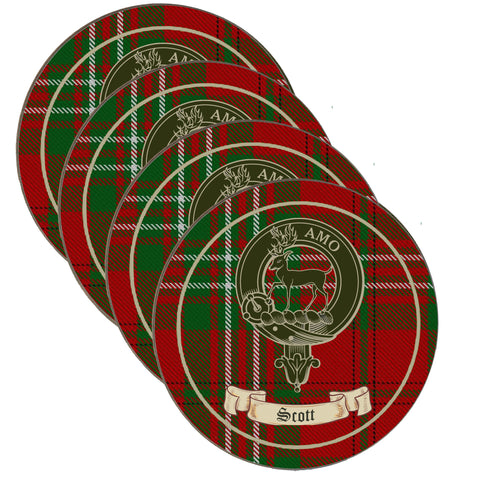 Scott Scottish Clan Crest Drinks Coaster on Tartan- Set of Four,Clan coaster,CotswoldDownsCrafts,CotswoldDownsCrafts