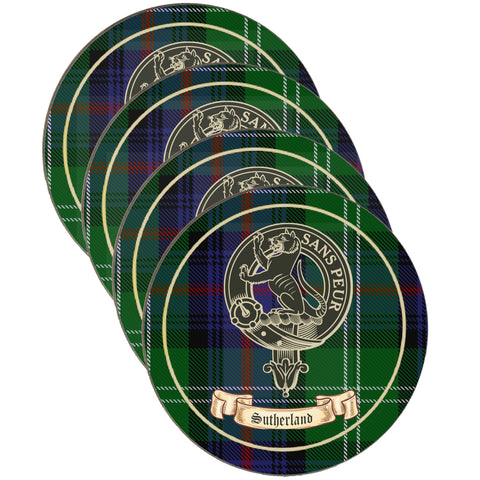 Sutherland Clan Crest Drinks Coaster - Set of Four,Clan coaster,CotswoldDownsCrafts,CotswoldDownsCrafts