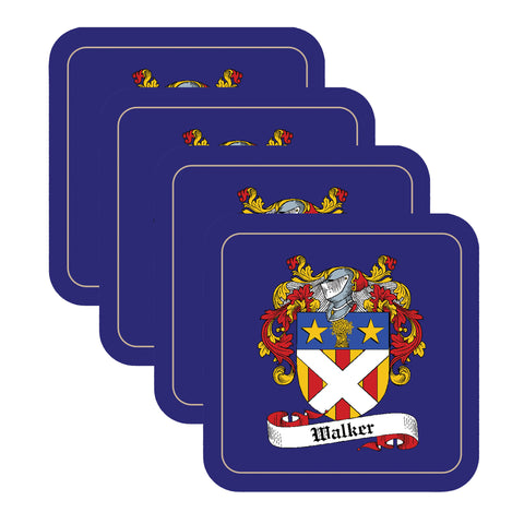 Walker Scottish Clan Shield Drinks Coaster - Set of Four,Clan coaster,CotswoldDownsCrafts,CotswoldDownsCrafts