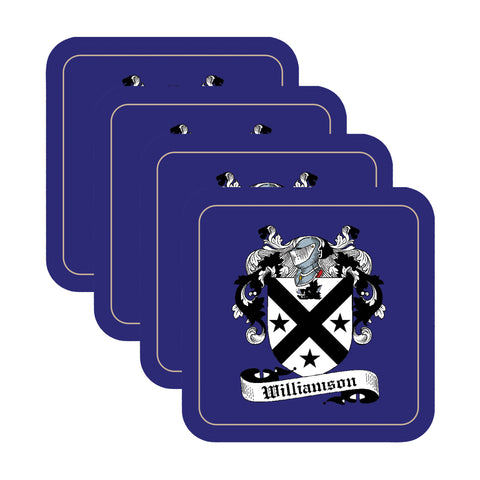 Williamson Scottish Clan Shield Drinks Coaster - Set of Four,Clan coaster,CotswoldDownsCrafts,CotswoldDownsCrafts
