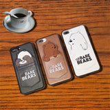 3D Cartoon Embroidery Leather Case for iPhone X 7 7Plus 8 8Plus 6 6s Plus Cute Pocket Bare Bears Back Cover Brown black white