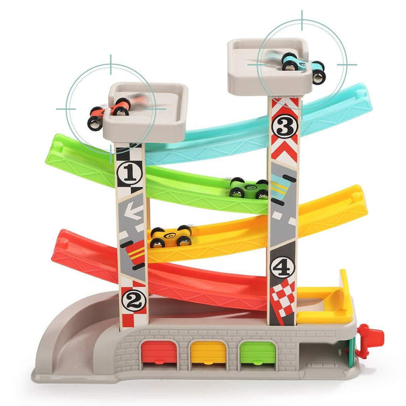 TOP BRIGHT Toddler Toys for 2 3 Year Old Boy Girl Gifts - Car Ramp Racer Race Track Playset with Car Garage, Gas Station, Auto Repair Shop & 4 Wooden Cars