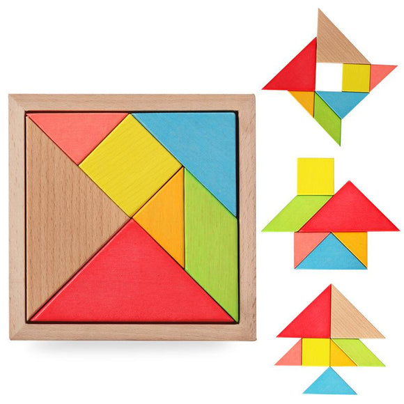 Beech Wood Jigsaw Puzzle Baby Early Educational Learning Colors and Shapes Wooden Toys for Children Intellectual Development Toy