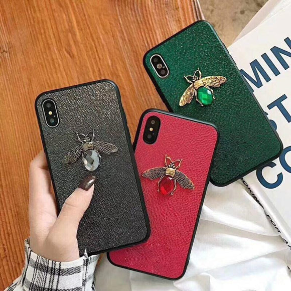 Fashion retro trend bee gem mobile phone case for iphone 6 6S plus 7 7plus 8 8plus X XR XS Max