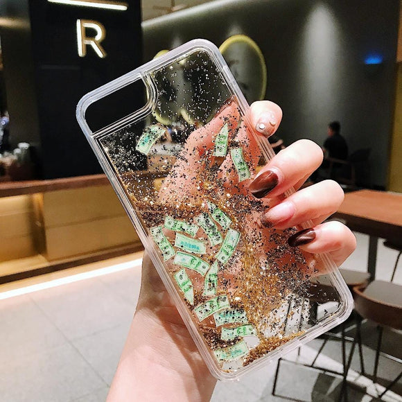 Girls Glitter money Liquid Quicksand US dollar Case for iphone 6 6S 7 8 Plus X 10 Dynamic liquid glitter Transparent Clear Cover