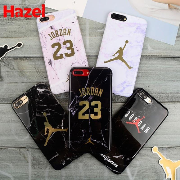 High quality Jordan 23 Soft silicon Case Cover for iPhone 7 X 7plus XR Case Luxury Marble stone for 6 8 Plus 8plus XS MAX Coque