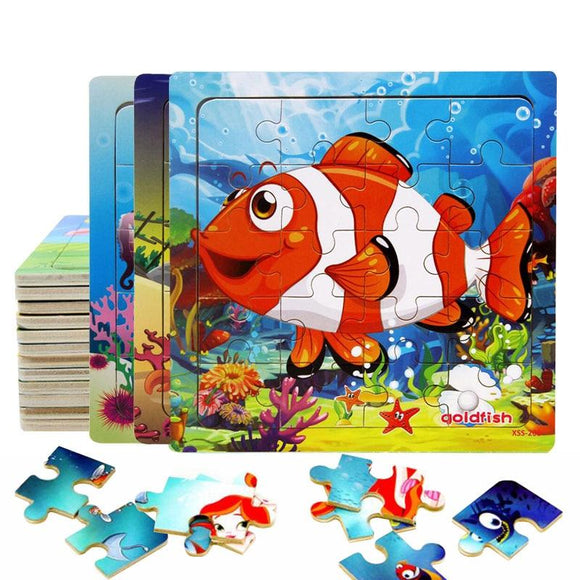 Hot Sell Wooden Marine Creatures Puzzle Baby Wooden Toy Cartoon Small Jigsaw Puzzles kids Learning Educational Toys for Children