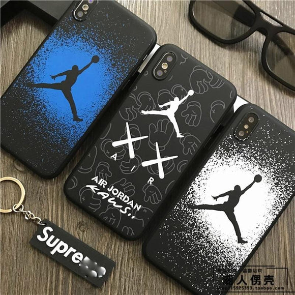 Hot fly man Jordan 23 soft silicon Cover case for iphone 6 6S S plus 7 7plus 8 8plus X Luminous junmp man phone cases coque capa