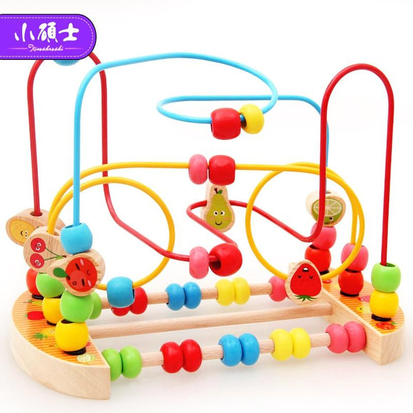 Kidus Wooden Math Toy Counting Circles Bead Abacus Wire Maze Roller Coaster Montessori Educational for Children