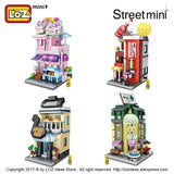LOZ Mini Bricks Architecture Mini Street Model Cake Store Shop Building Assembly Toy City Square Block Set Kids Gift Bookstore