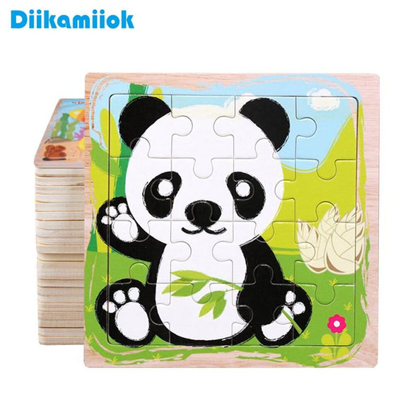 New 16 Slice Wooden Jigsaw Puzzle Colorful Cartoon Animal Vehicle Wood Toys for Kids Baby Early Educational Learning Toy DK-200
