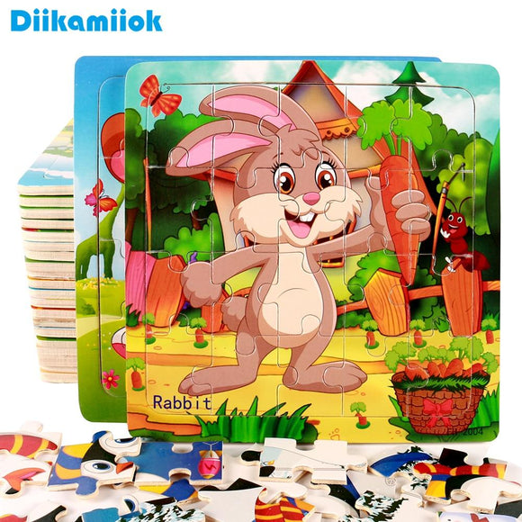 New Creative Wooden Puzzle Toy Jigsaw Cartoon Vehicle/ Animal Baby Early Educational Toys for Kids Games Birthday Gift SY-D08