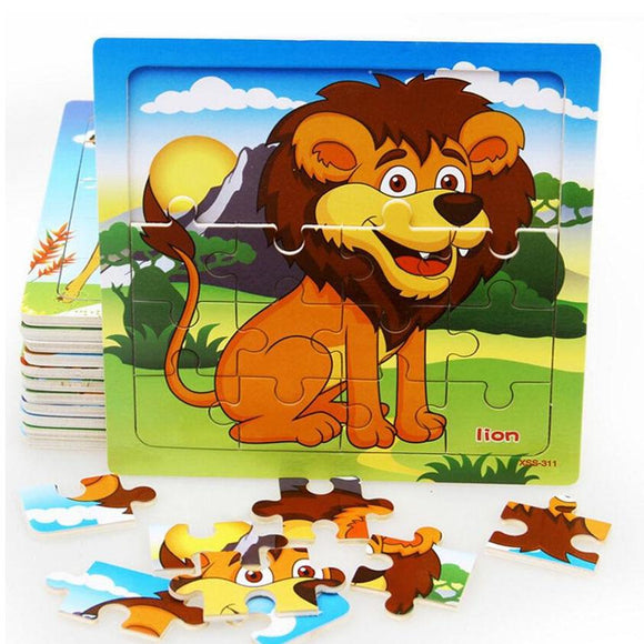 New Hot Sales 20 slice puzzle wooden small piece kid toy baby wooden Jigsaw puzzles lion animal educational toys for children